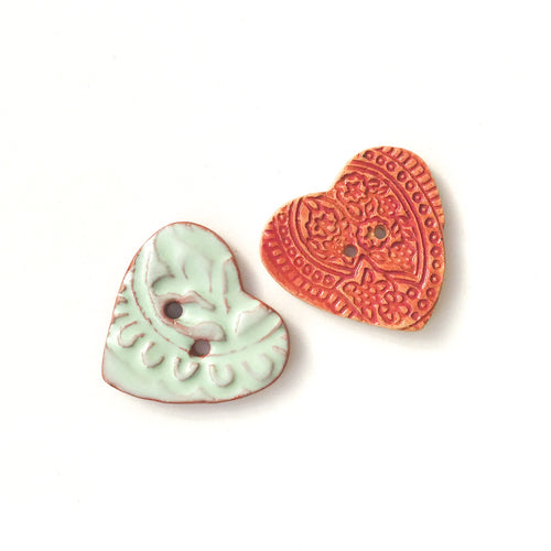 Stamped Heart Buttons - Ceramic Heart Buttons -1 3/16