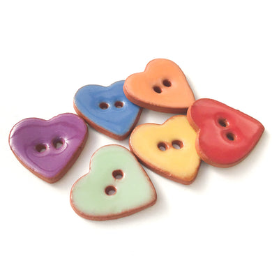 Rainbow Heart Buttons - Ceramic Heart Buttons - 7/8