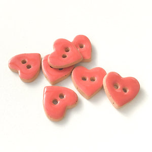 "Salmon Pink Heart Buttons - Ceramic Heart Buttons - 5/8"" x 9/16"" - 7 Pack (ws-188)"