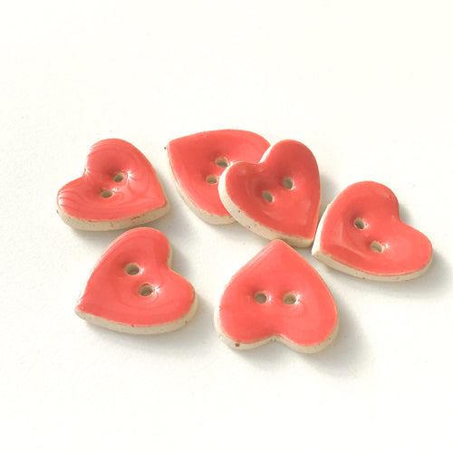 Salmon Pink Heart Buttons - Ceramic Heart Buttons - 5/8