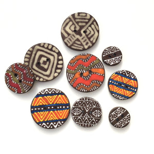 Tribal Button Collection: Simple Design and Contrasting Colors in African Motifs