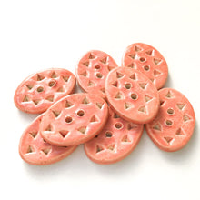 "Load image into Gallery viewer, Hand Stamped Light Salmon Clay Buttons - Pink Oval Ceramic Buttons - 5/8"" x 7/8"" - 8 Pack"