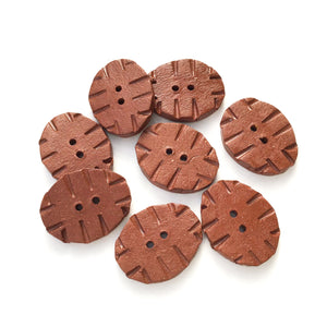 "Hand Stamped Rustic Clay Buttons - Terracotta Ceramic Buttons - 5/8"" x 7/8"" - 8 Pack"