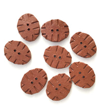 "Load image into Gallery viewer, Hand Stamped Rustic Clay Buttons - Terracotta Ceramic Buttons - 5/8"" x 7/8"" - 8 Pack"