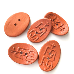 "Southwestern Corn Buttons - Reddusg-Brown Ceramic Buttons - 5/8"" x 1"" - 5 Pack"