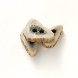 "Deer Antler Shed Buttons - Polished Natural Antler Buttons - 1/2"" x 3/4"" - 3 Pack"