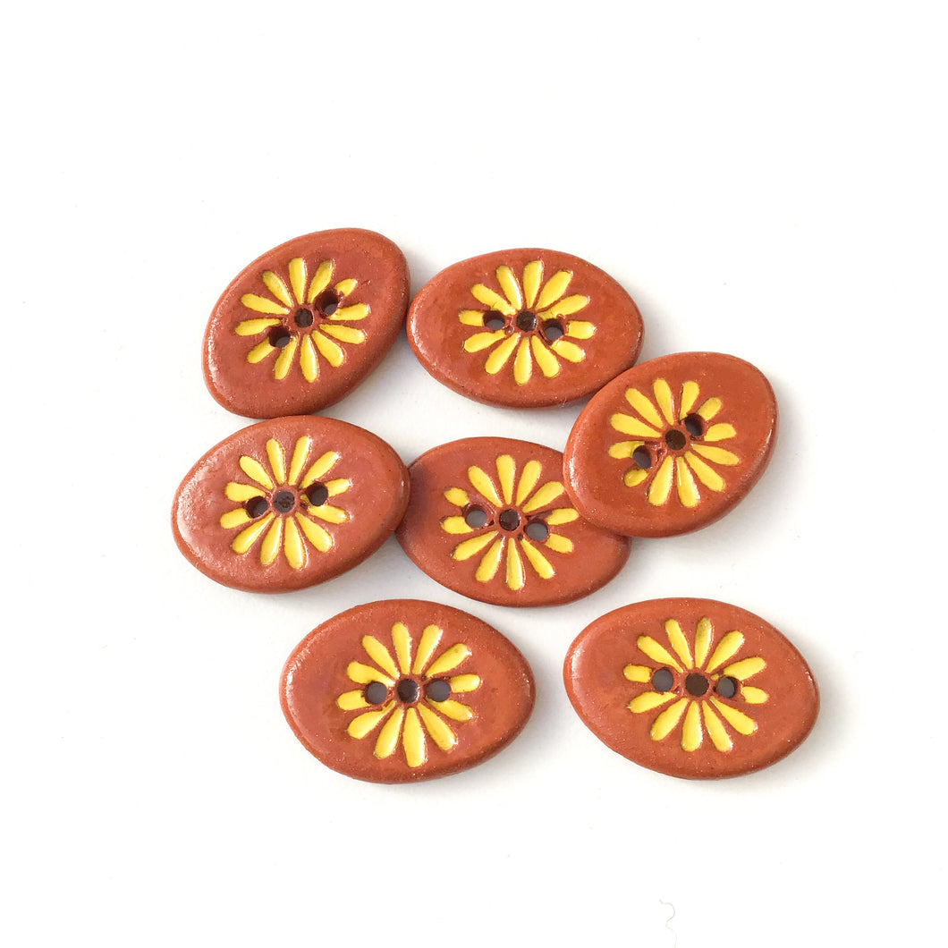 Yellow Daisy Button on Red Clay - Ceramic Flower Buttons - 5/8