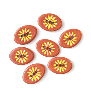 "Yellow Daisy Button on Red Clay - Ceramic Flower Buttons - 5/8"" x 7/8"" - 7 Pack (ws-280)"