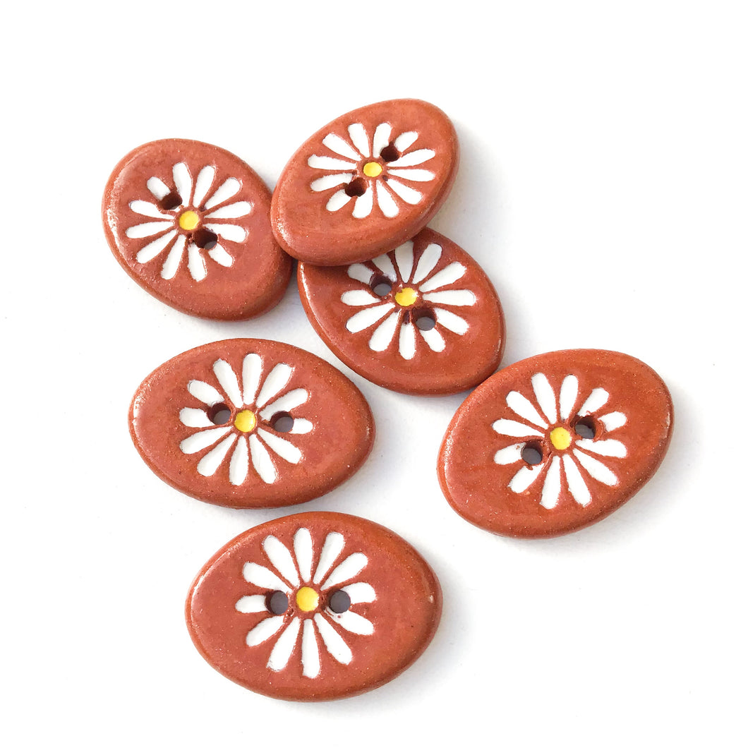 White Daisy Buttons on Red Clay - Ceramic Flower Buttons - 5/8