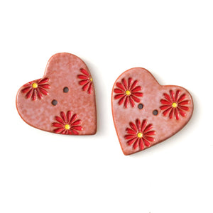 Decorative Heart Buttons - Ceramic Heart Button - Red Daisies - 1 3/8""