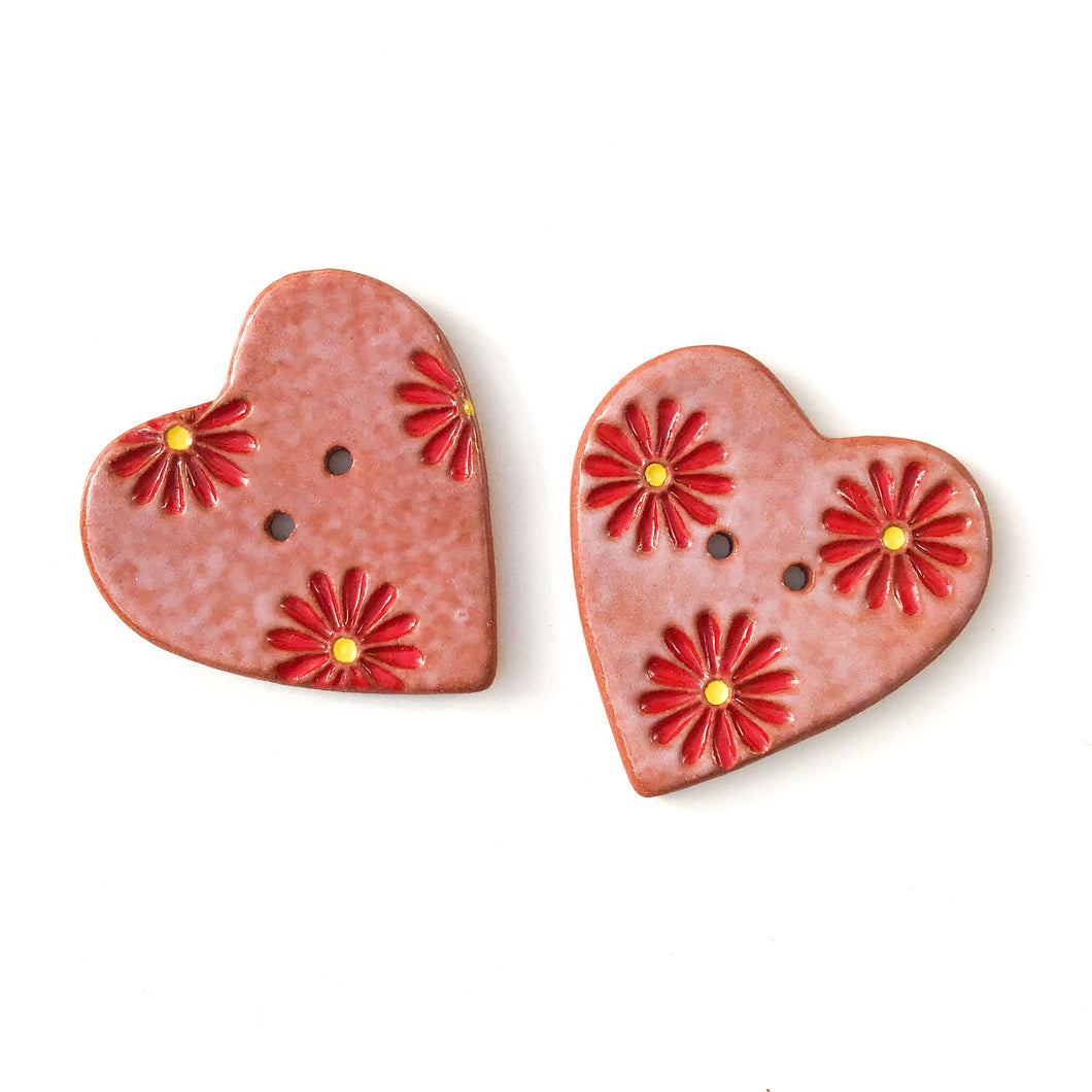 Decorative Heart Buttons - Ceramic Heart Button - Red Daisies - 1 3/8