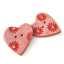 Load image into Gallery viewer, Decorative Heart Buttons - Ceramic Heart Button - Red Daisies - 1 3/8""