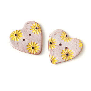 Decorative Heart Buttons - Ceramic Heart Button - Yellow Daisies - 1 3/8""