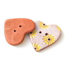 Load image into Gallery viewer, Decorative Heart Buttons - Ceramic Heart Button - Yellow Daisies - 1 3/8""