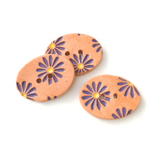 "Load image into Gallery viewer, Purple Daisy Buttons on Brown Clay - 3/4"" x 1 1/16"" - 3 Pack"