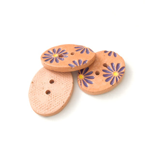"Purple Daisy Buttons on Brown Clay - 3/4"" x 1 1/16"" - 3 Pack"