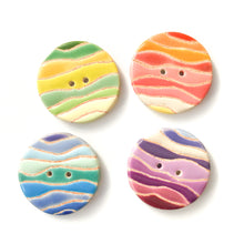 Load image into Gallery viewer, Colorful 'Waves' Quilted Buttons - Decorative Ceramic Buttons - 1 3/8""