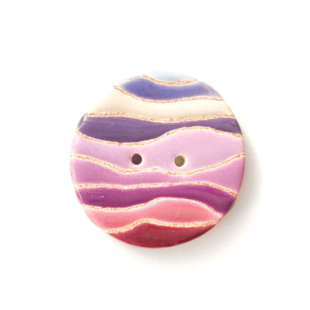Colorful 'Waves' Quilted Buttons - Decorative Ceramic Buttons - 1 3/8