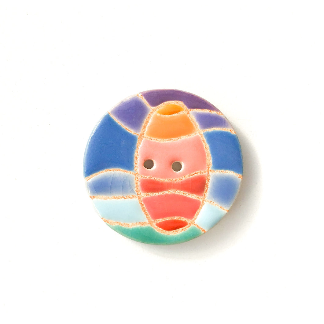 Colorful 'Waves & Sunset' Quilted Button - Decorative Ceramic Button - 1 3/8