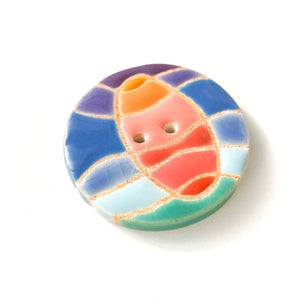 Colorful 'Waves & Sunset' Quilted Button - Decorative Ceramic Button - 1 3/8""