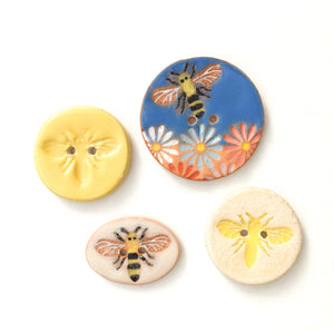 Honeybees Button Collection: Beautifully Painted Bee Buttons