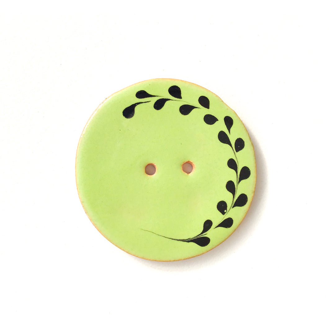 Lime Green Ceramic Button with Black Detail - Decorative Ceramic Button - 1 3/8