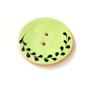 Lime Green Ceramic Button with Black Detail - Decorative Ceramic Button - 1 3/8""