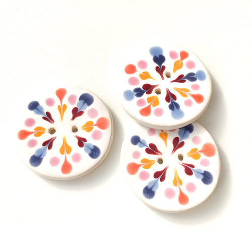 Color Flare Ceramic Buttons in Pinks & Blues - Decorative Ceramic Button - 1 3/8