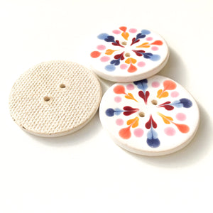 Color Flare Ceramic Buttons in Pinks & Blues - Decorative Ceramic Button - 1 3/8""