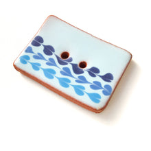 "Load image into Gallery viewer, Light Blue Ceramic Button with Blue Detail - Decorative Ceramic Button - 1"" x 1  1/2"""