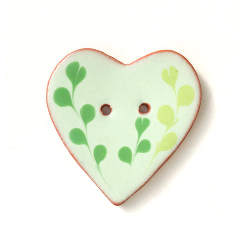 Decorative Heart Buttons - Green Ceramic Heart Button  - 1 3/8