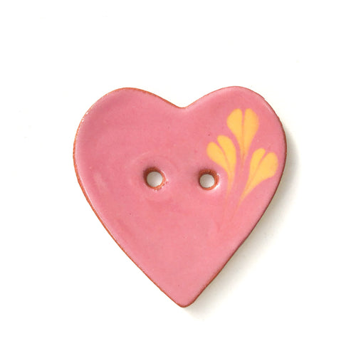 Decorative Heart Buttons - Earthy Pink Ceramic Heart Button - 1 3/8