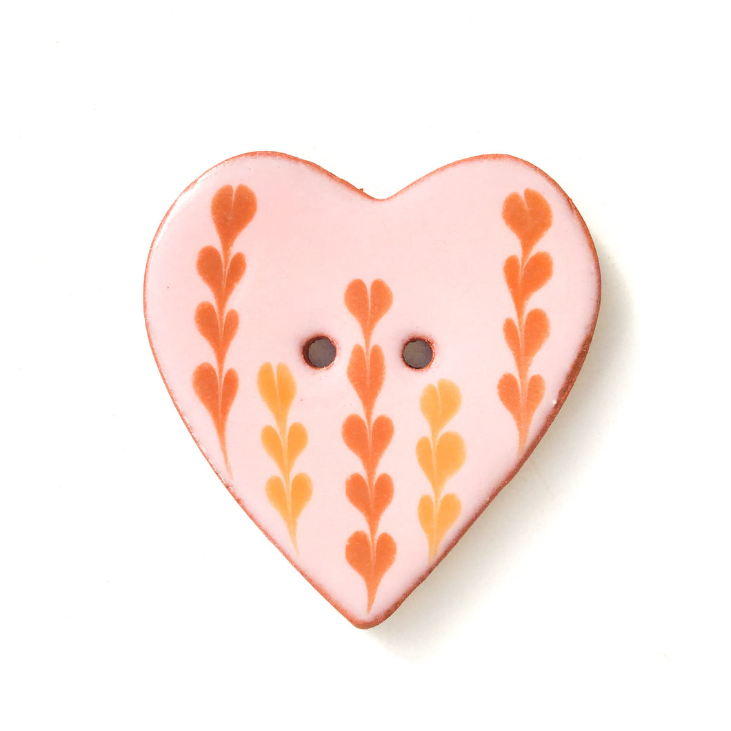 Decorative Heart Buttons - Pink & Brown Ceramic Heart Button - 1 3/8