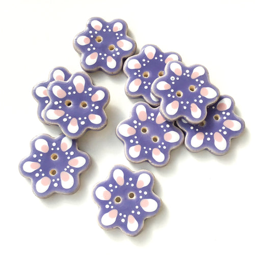 Purple Flower Shaped Ceramic Buttons - Decorative Clay Buttons - 1  1/4