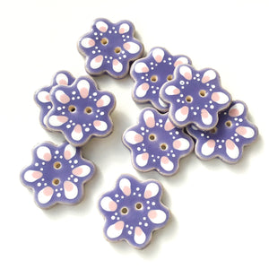 Purple Flower Shaped Ceramic Buttons - Decorative Clay Buttons - 1  1/4""