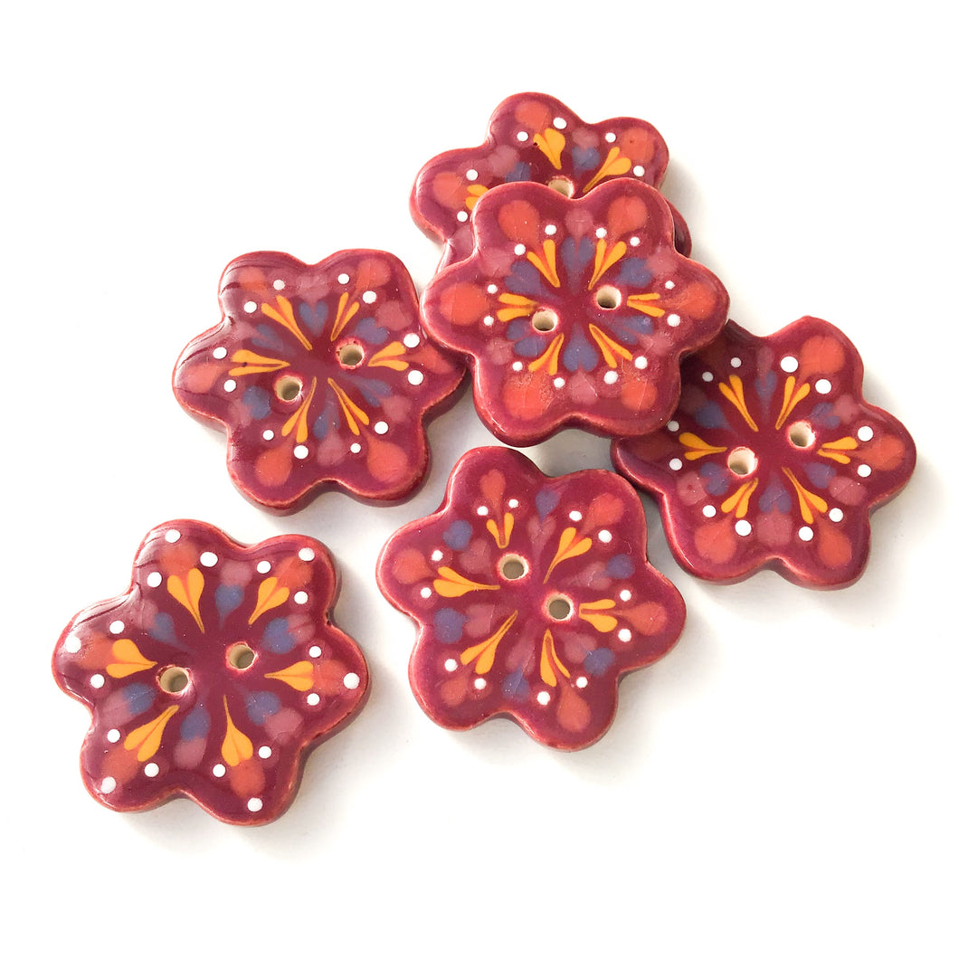 Wine Colored - Flower Shaped Ceramic Buttons - Decorative Clay Buttons - 1 1/4