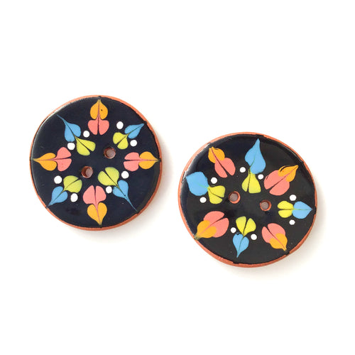 Color Drag Ceramic Buttons in Black & Vivid Tones - Decorative Ceramic Button - 1 3/8