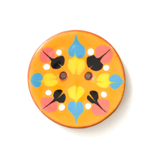 Color Drag Ceramic Button in Orange & Vivid Tones - Decorative Ceramic Button - 1 3/8