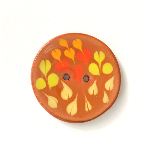 Color Drag Ceramic Button in Brown, Chartreuse & Red Tones - Decorative Ceramic Button - 1 3/8