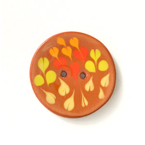Color Drag Ceramic Button in Brown, Chartreuse & Red Tones - Decorative Ceramic Button - 1 3/8""
