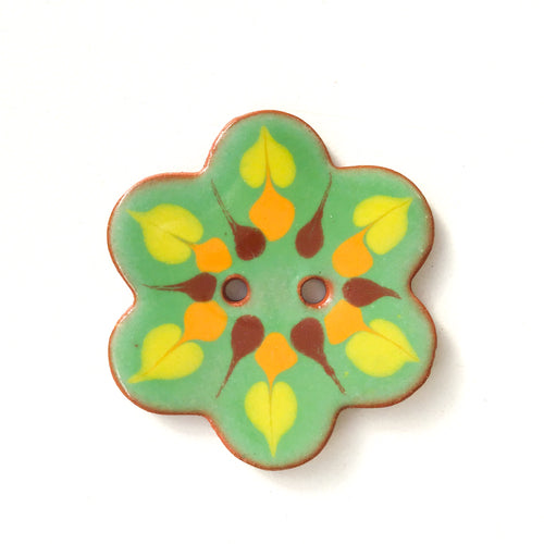 Green Flower Shaped Ceramic Button - Decorative Clay Buttons - 1 3/8