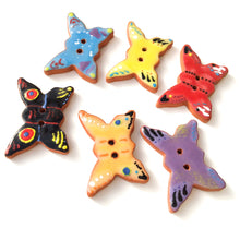 "Load image into Gallery viewer, Ceramic Butterfly Buttons - Colorful Butterflies on Red Clay - 7/8"" x 1  1/4"""