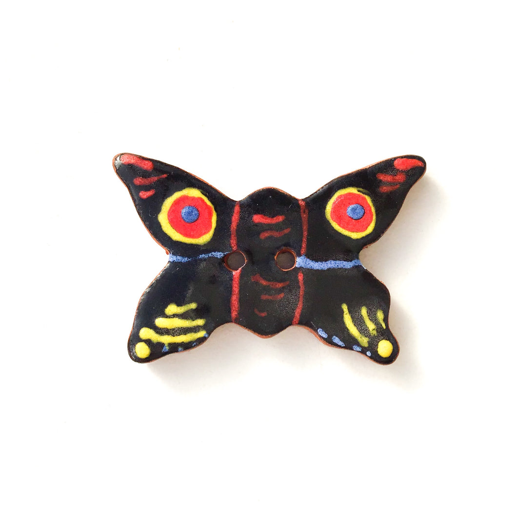 Ceramic Butterfly Buttons - Colorful Butterflies on Red Clay - 7/8