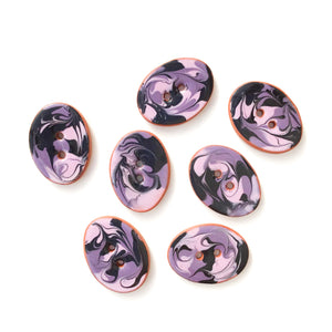 "Black & Purple Swirl Ceramic Buttons on Terracotta Clay - 5/8"" x 7/8"" - 7 Pack"