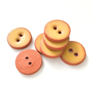 "Earthy Yellow Ceramic Buttons - Clay Buttons - 5/8"" - 7 Pack (ws-83)"