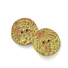 "Load image into Gallery viewer, Hand Stamped Speckled Green Ceramic Buttons on Red Clay - 1 1/8"" - 2 Pack"