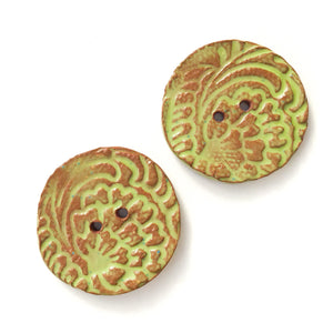 "Hand Stamped Speckled Green Ceramic Buttons on Red Clay - 1 1/8"" - 2 Pack"
