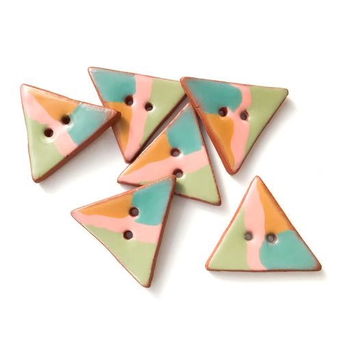 Retro Style Triangular Buttons - Pink-Tan-Turquoise-Green - 1 1/4