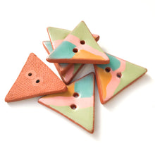"Load image into Gallery viewer, Retro Style Triangular Buttons - Pink-Tan-Turquoise-Green - 1 1/4"" x 1 3/8"""