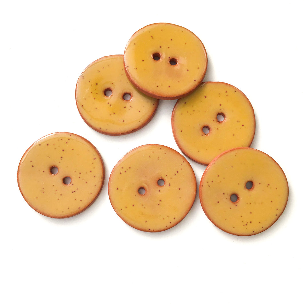 Speckled Mustard Yellow Ceramic Buttons on Terracotta Clay - 1 1/16